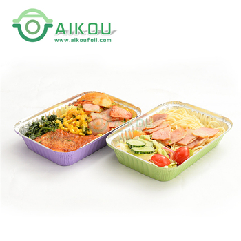 Aluminum foil plate tray fast food lunch box takeaway disposable food container with lids