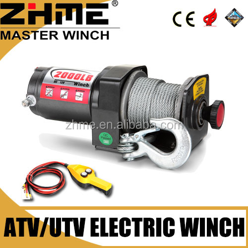 12 volt 2000lbs atv mechanical electric winch with wire rope