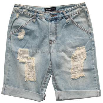 16cadd464dc8 Gzy 2014 Nuevo Diseño Caliente Pantalones Vaqueros De Mezclilla Pantalones  Vaqueros Cortos Para Hombre Verano Corto Arrancó Hecho A Mano Rayado Modelo  ...