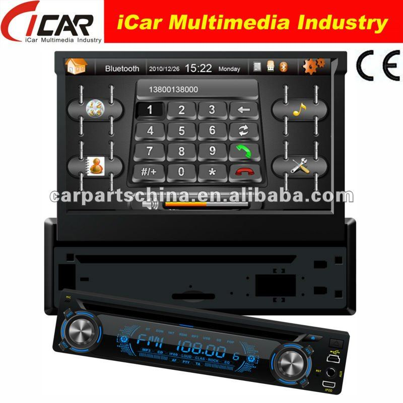 (iCar-8300)1 din 7 inch Detachable panel built in gps Ipod function bluetooth tv TMC car dvd with gps