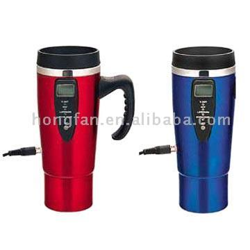 In Car battery powered 12V Car Electric Kettle Heated Travel vacuum Mug