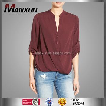 2cfec6648db Red Wine Lush Twist Front Poplin Shirt V-neck Long Sleeve Muslim Women  Blouse Timeless