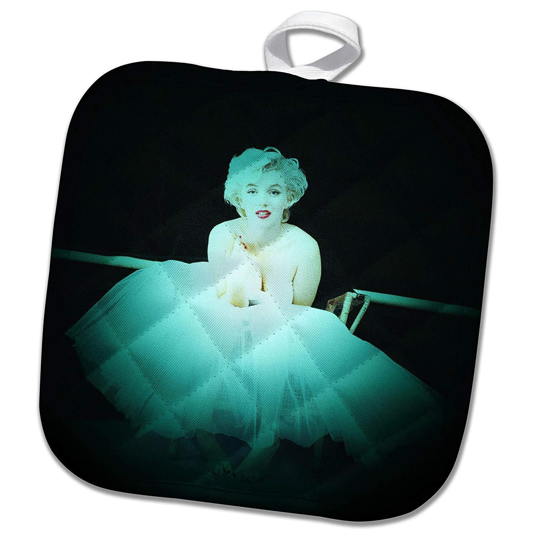 3dRose RinaPiro - Marilyn Monroe - Marilyn Monroe. Legendary screen actress and model. Black turquoise. - 8x8 Potholder (phl_261332_1)