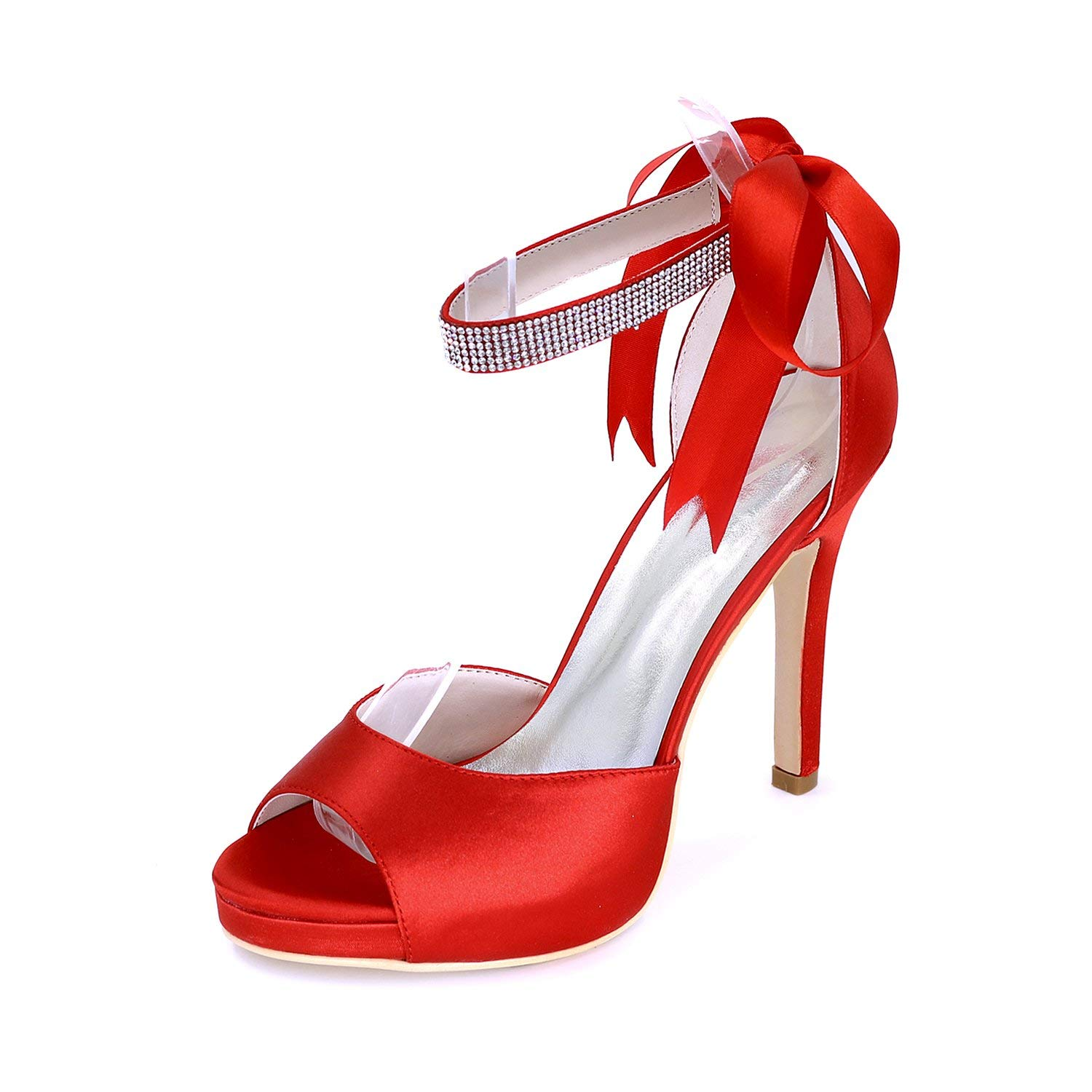 Fanciest Women's Peep Toe Pumps Heels Sandals Beaded Wedding Bridal Shoes Red 5915-20D