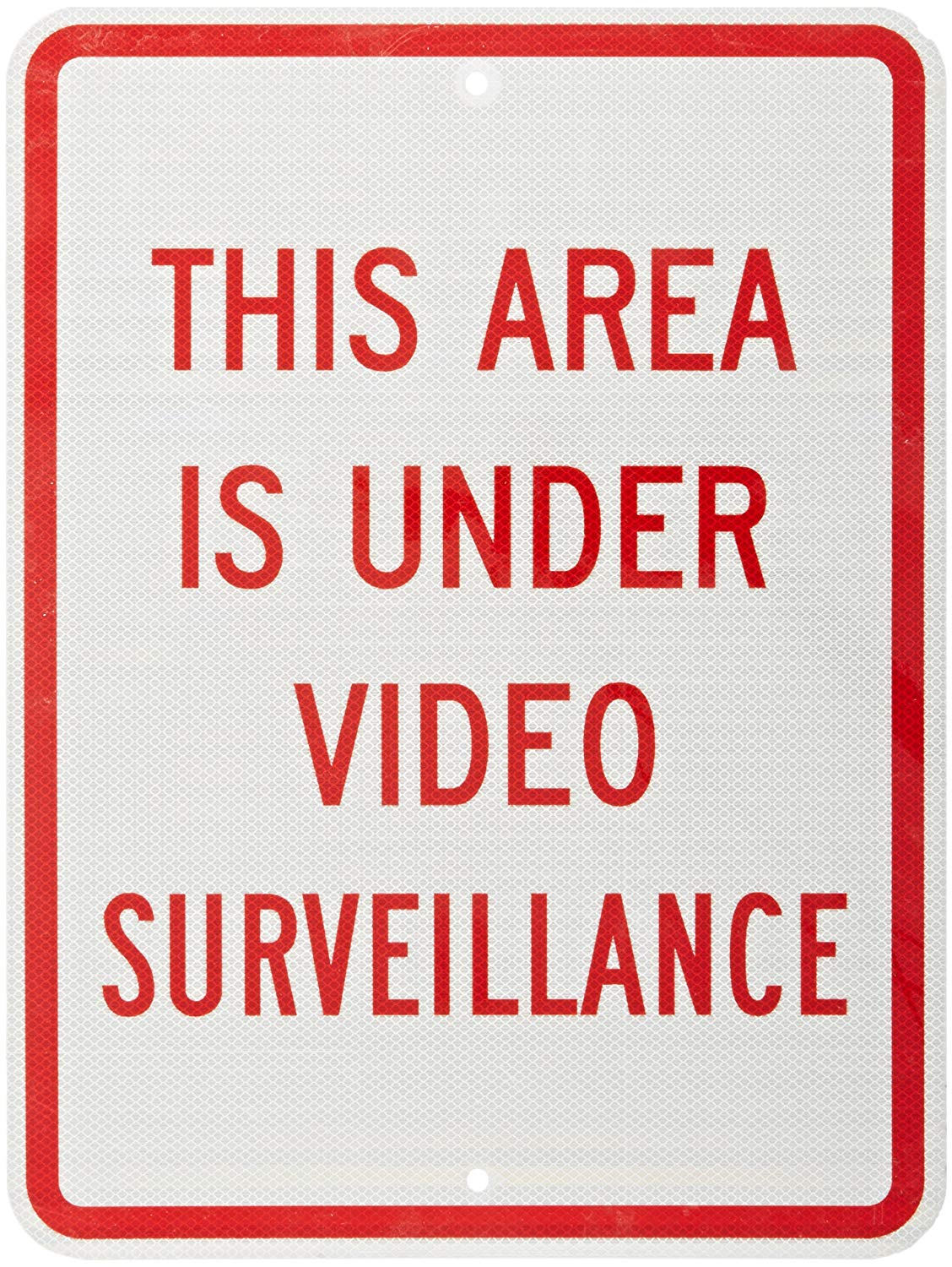 "SmartSign 3M High Intensity Grade Reflective Sign, Legend ""This Area is Under Video Surveillance"", 24"" high x 18"" wide, Red on White"