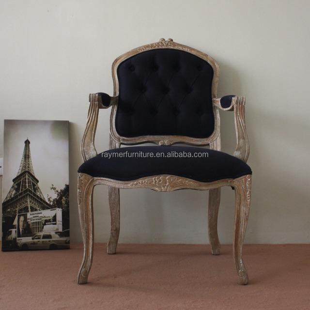 Französisch Stil Navy Esszimmer Sessel Holz Geschnitzt Akzent Stuhl