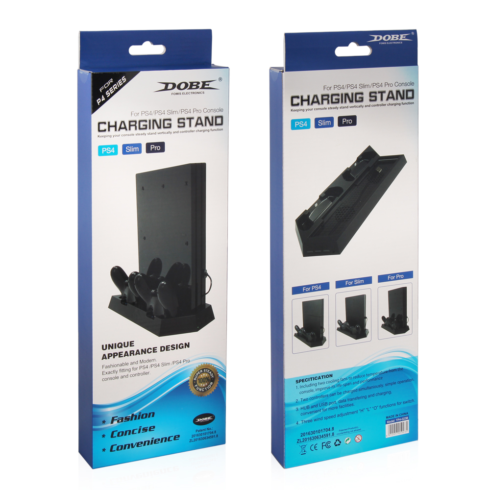 Dobe 2 Controller Charging Stand With Cooler Fan For Ps4 Slim Dual Dock Pro