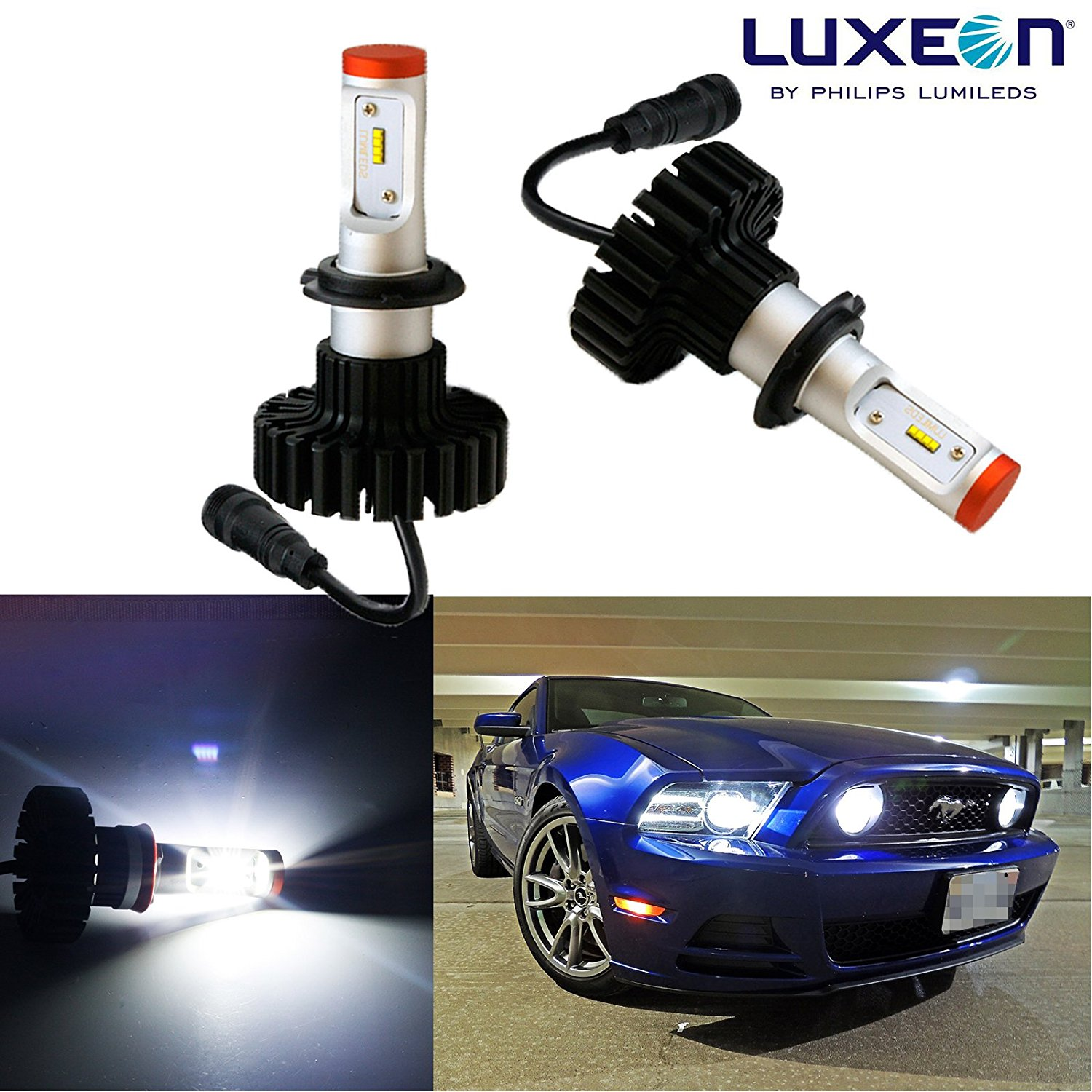 Xotic Tech 2x White 6000K Philips Luxen160W 9005 9006 9145 H10 High Power LED Low Beam Headlight Bulbs (Newest Model)