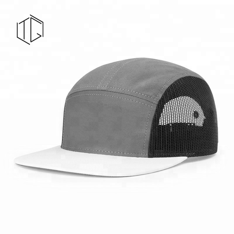 Custom High Quality Blank Stitch Mesh 5 Panel Trucker Cap