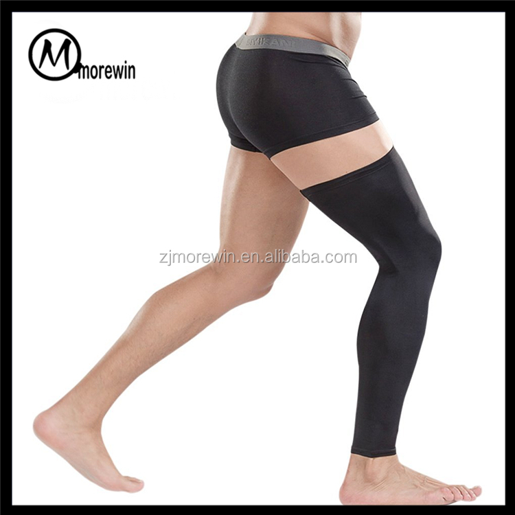 Morewin brand Mens Professional Over Knee long Compression Calf Sleeves Leg body Tights Supports for Basketball