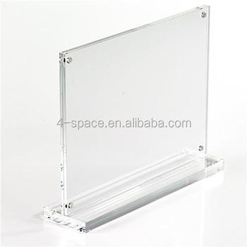 7 x 5 Clear Acrylic T-style Sign Holder with Magnets Stands