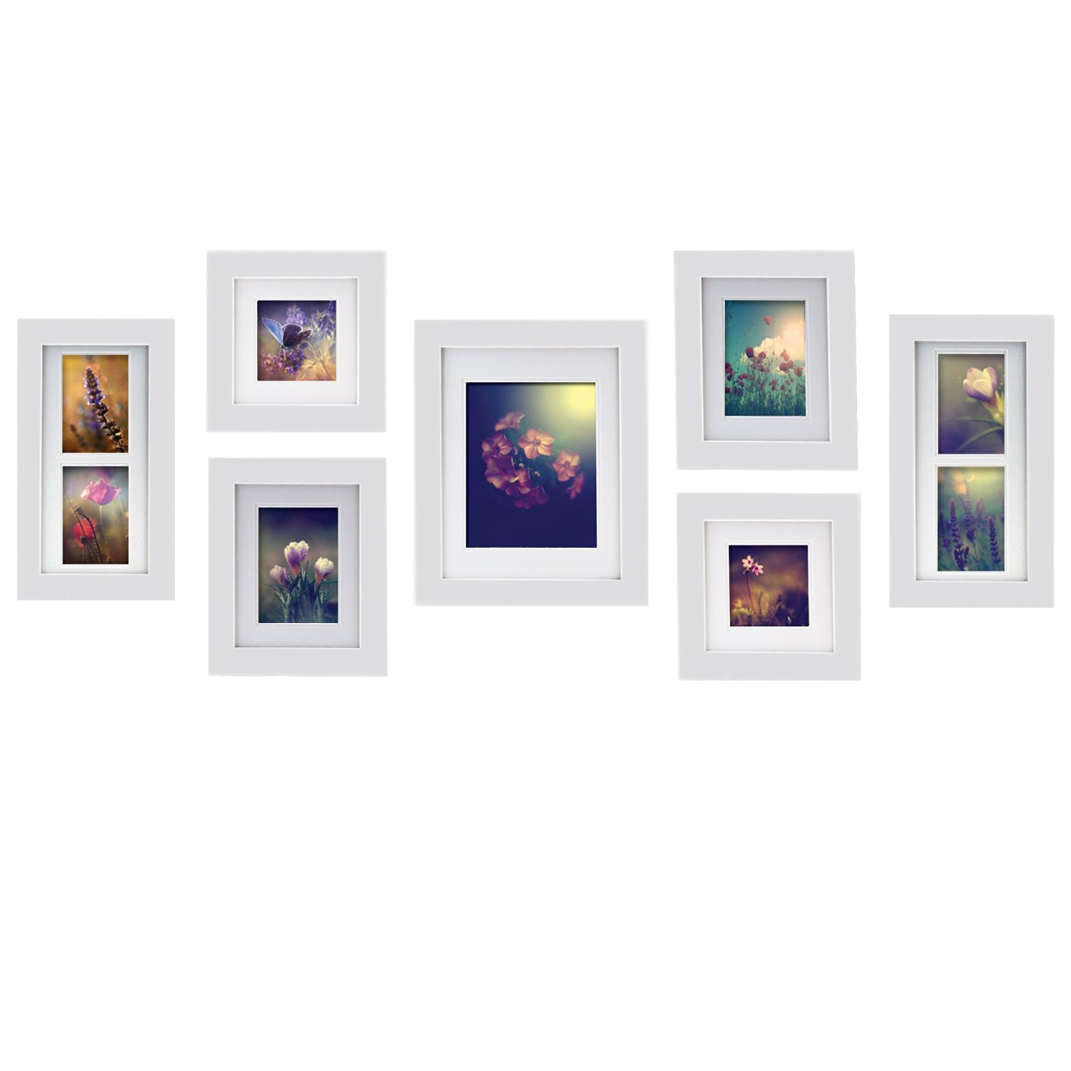 Gallery Perfect 7 Piece White Wood Photo Frame Wall Gallery Kit. Includes: Frames, Hanging Wall Template, Decorative Art Prints and Hanging Hardware