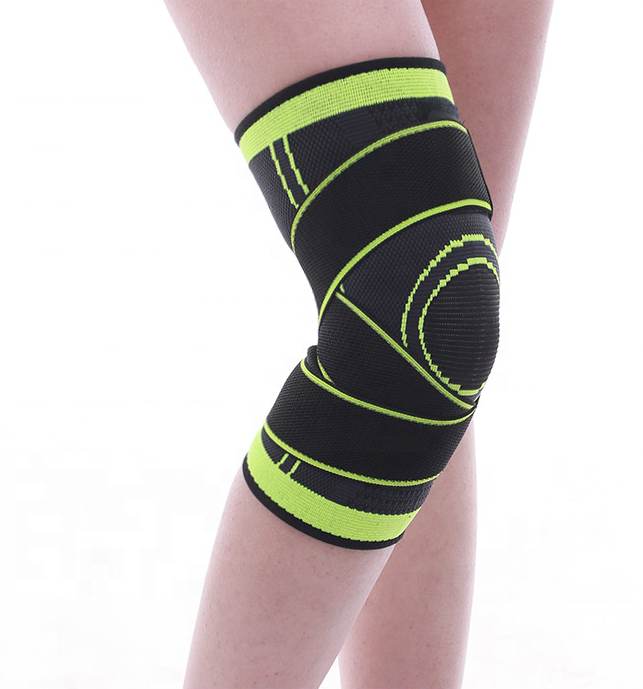 3D Weaving Compression Knee Sleeve Brace for Men & Women, Kneepad Support with Adjustable Strap for Pain Relief, Running, Green;orange;black;red