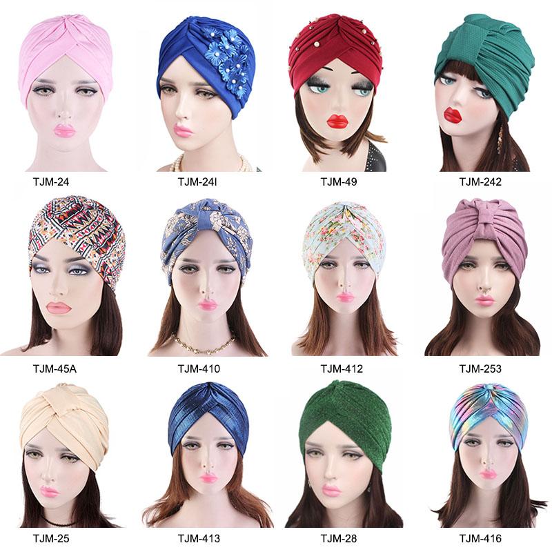 New Luxury Shiny Beaded Turban Day And Night Sleep Caps Muslim Head Wrap Women Hair Bonnet Caps TJM-28C