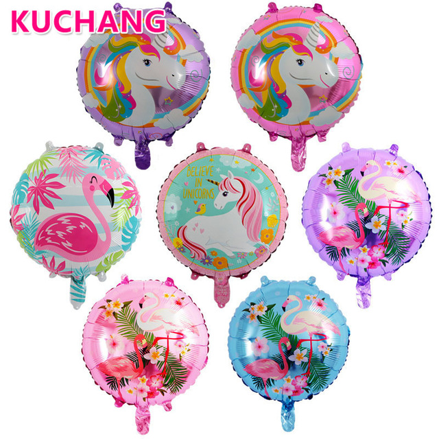 Party decoration round shaped colorful foil balloon printed unicorn and falmingo