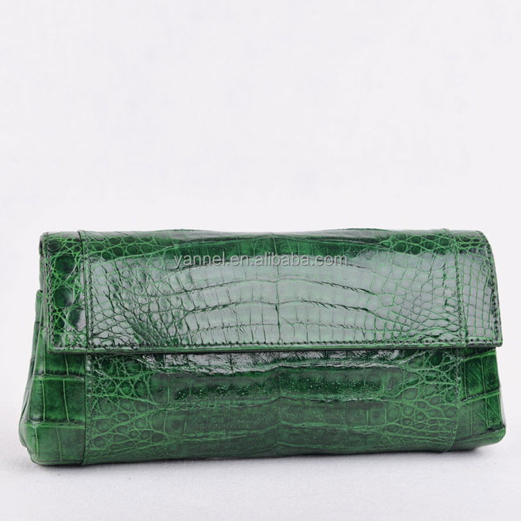 Glossy crocodile women <strong>clutch</strong> bags Flap cover Crocodile <strong>leather</strong> <strong>clutch</strong>. Green