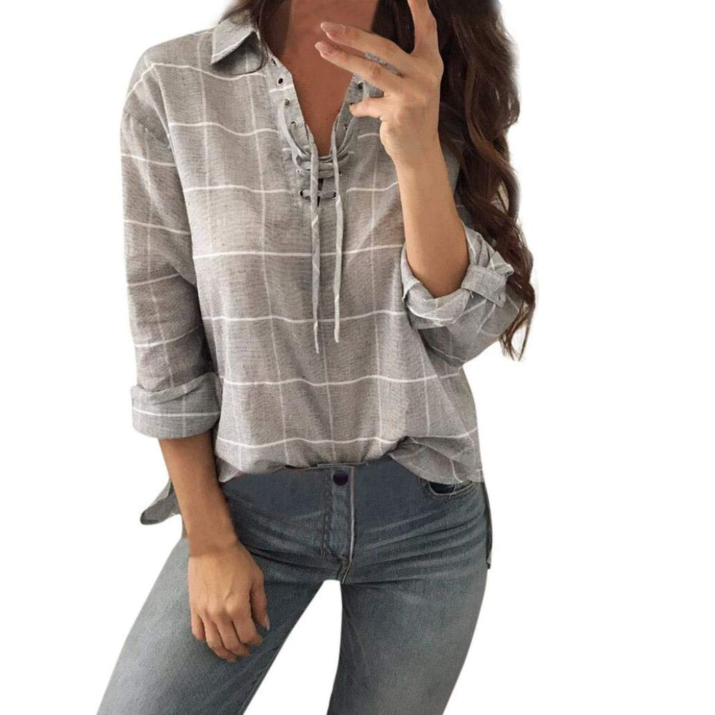 Feitengtd Women's Plaid Top T-Shirt Blouse V-Neck Pullover Long Sleeve Casual Tunic Tops