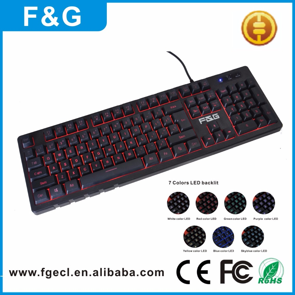 104 key custom compact mechanical type design RGB 7 colors LED computer gaming keyboard for keyboard gaming