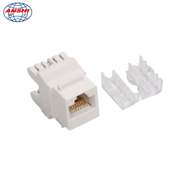 ANSHI RJ45 CAT6 Keystone Jack 180 degree UTP Connection with dust cover