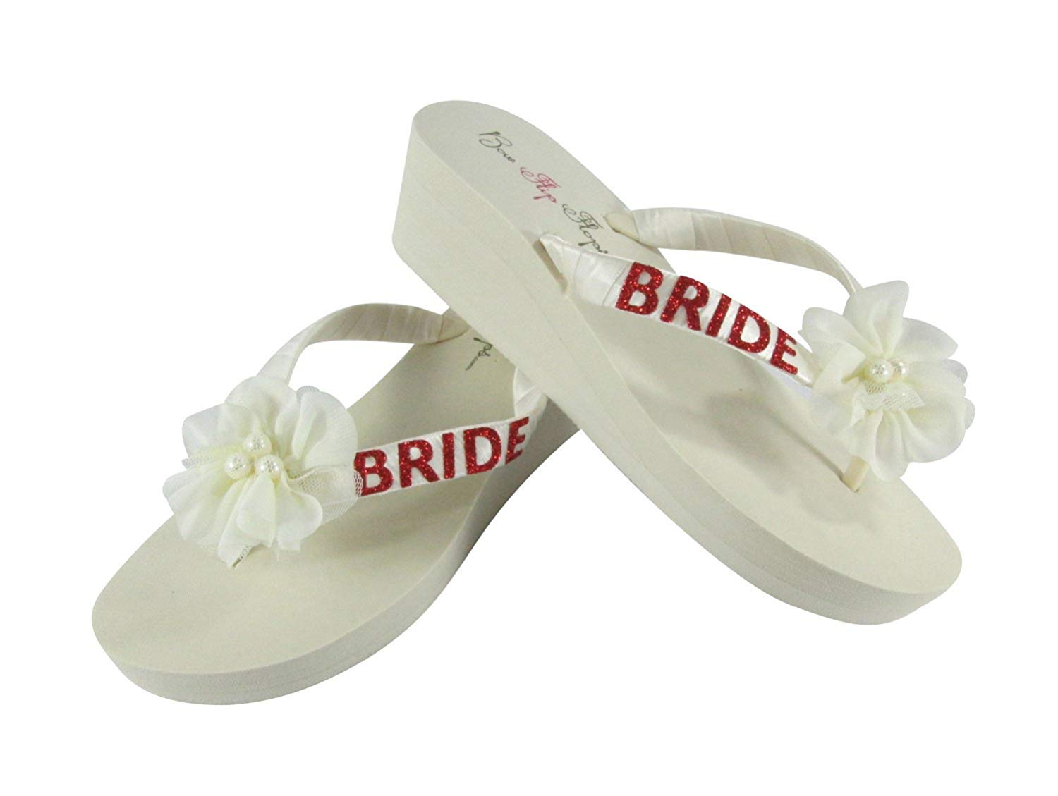 0e31c8b01f80 Get Quotations · Ivory and Red Glitter Chiffon Flower Flip Flops for the  Wedding Shoes