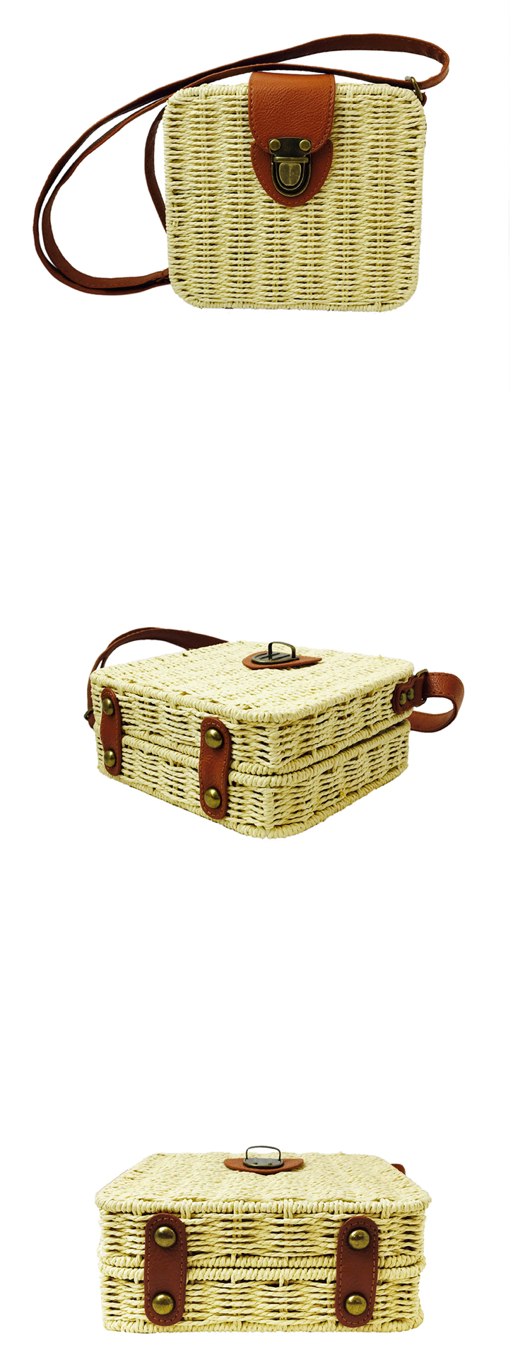 Multi Colors Square Woven Handbag Woman Crossbody Bag Straw with Leather Strap
