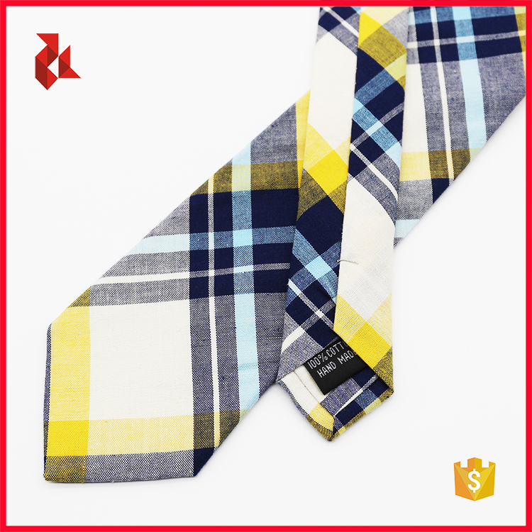 Mens Cotton Checked Yellow Ties