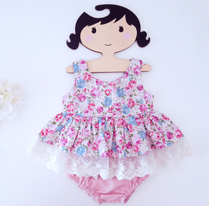 Newborn Baby Girl Dress And Pants Summer Princess Floral Baby Girl Romper Sets