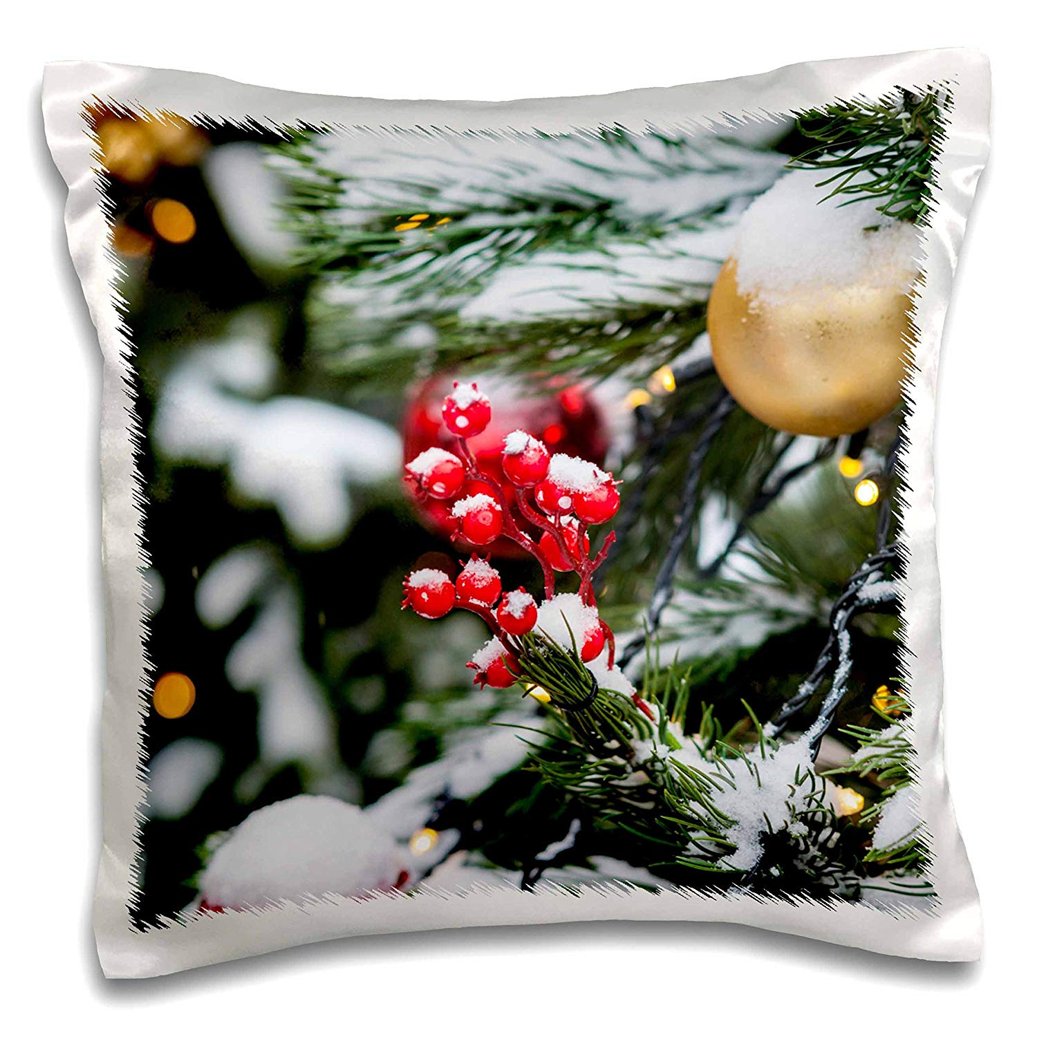 3dRose Alexis Photography - Holidays Christmas - Closeup view of a Christmas decoration on a snow covered spruce tree - 16x16 inch Pillow Case (pc_275967_1)