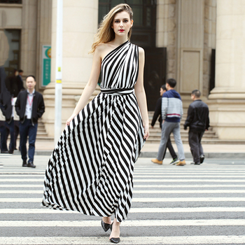 Black White Striped Woman Tight Korean Style Casual Dresses View