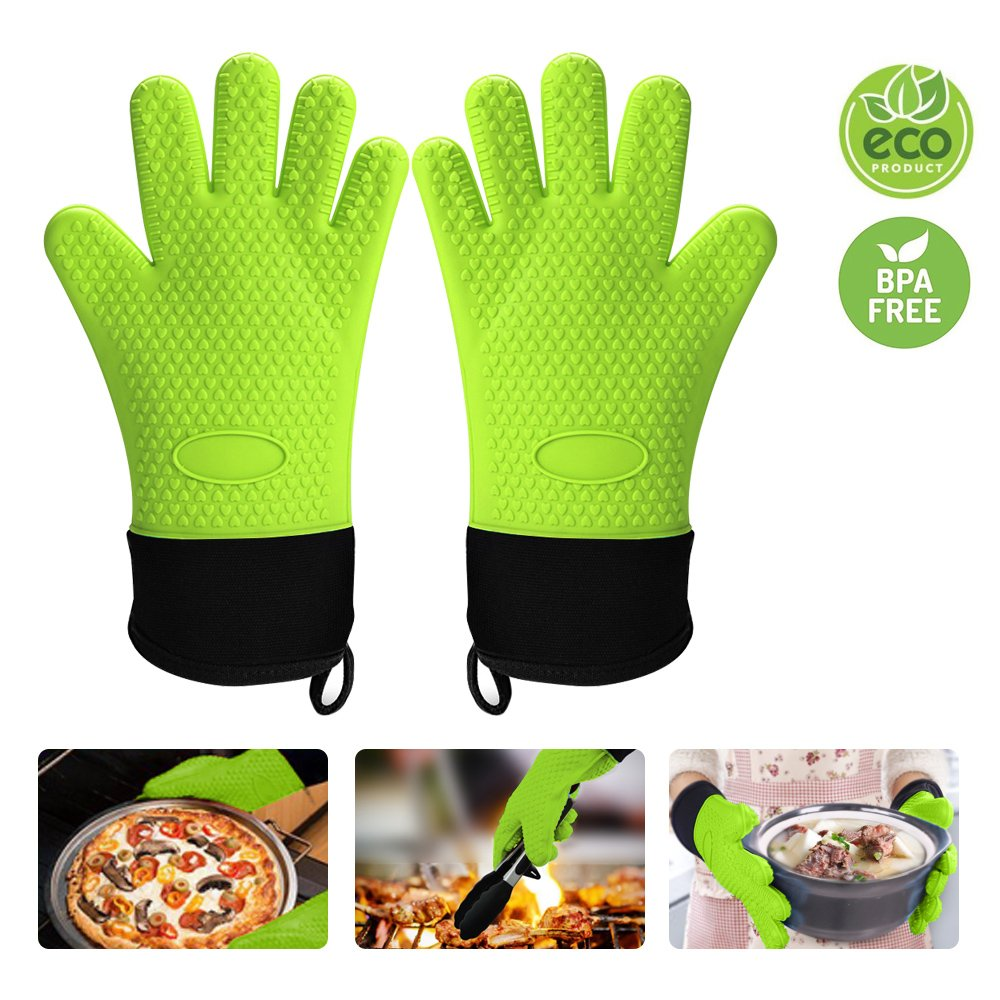 meifox Silicone Gloves Heat Resistant - Non-Slip Potholders-Waterproof-Extra long cuff - Cotton Lining - Full Finger Hand Wrist Protect - Oven mitts for BBQ,Baking,Grilling,Cooking,Kitchen,Screw cap