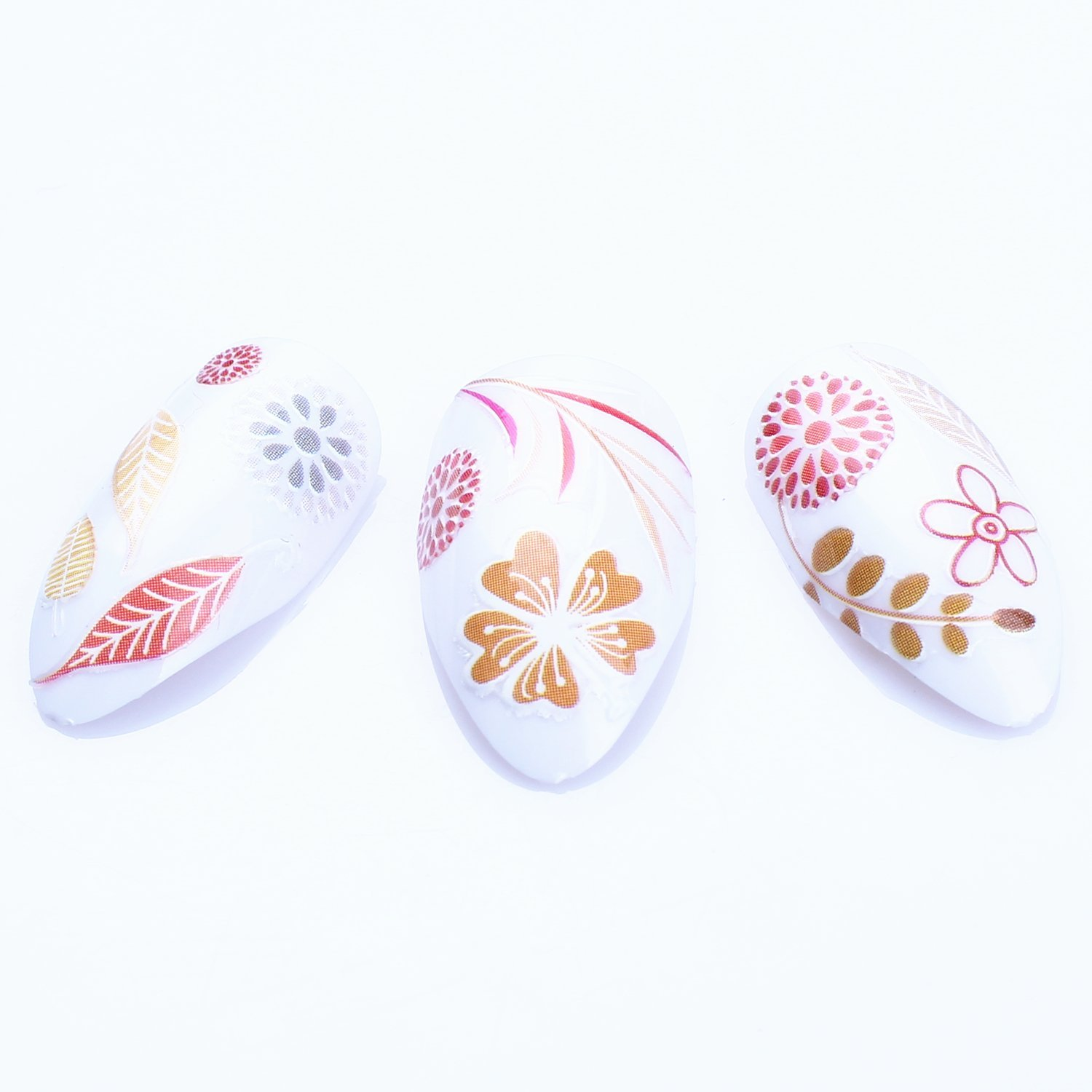 ECBASKET 3D Nail Art Tips Sticker False Nail Design Colorful Flowers Leaves Nail Decal 1 Piece 3 For Ladies