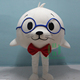 cute big body white Sea Lion mascot costume with blue glasses