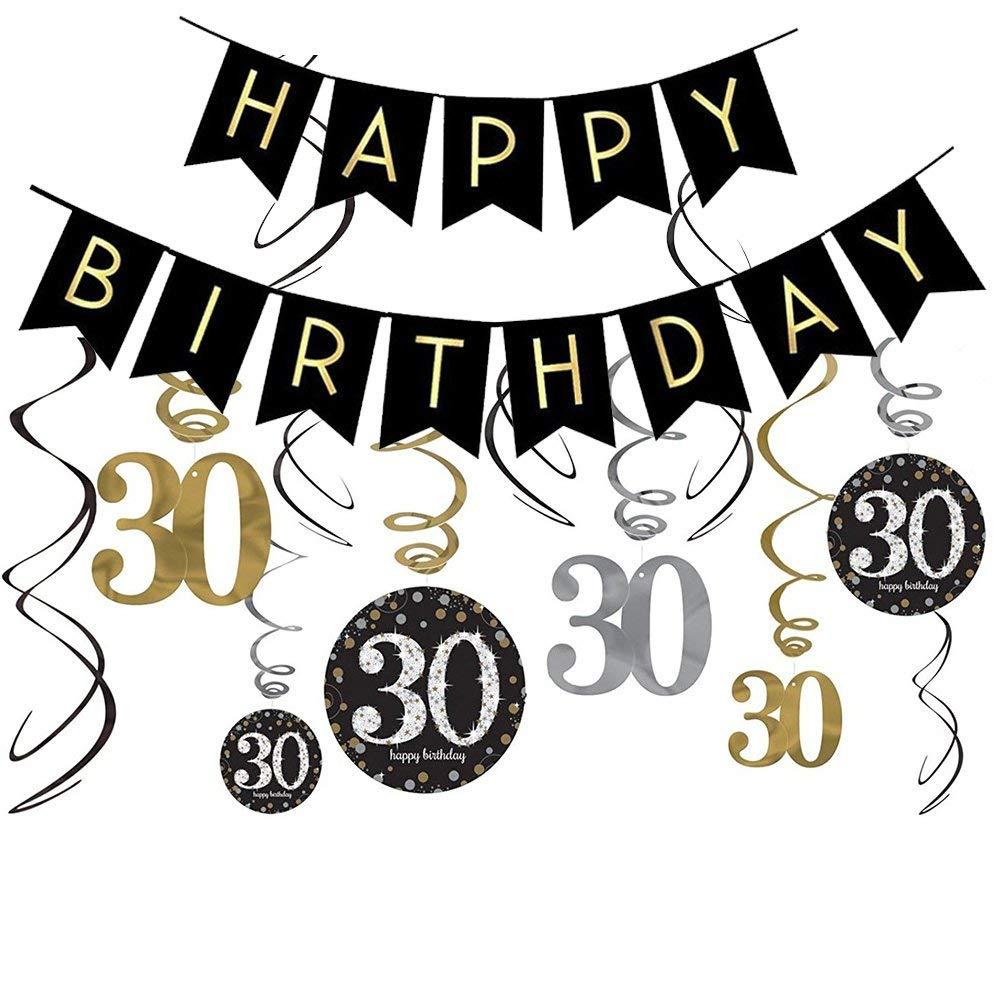 30th Birthday Decorations Kit Gold Glitter Happy Banner Sparkling Celebration 30 Hanging Swirls