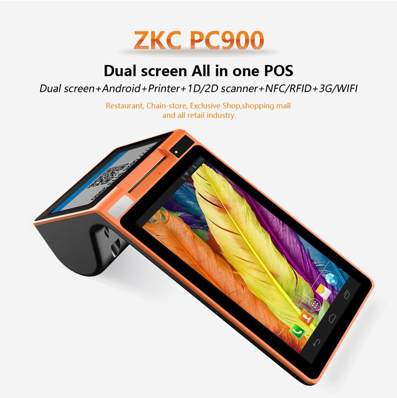 Dual Screen Android NFC Pos Terminal with Barcode Scanner Rfid