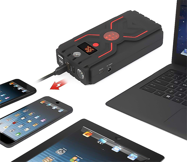 Peak current  1200A fast charger  car jump starter with Type C input and output