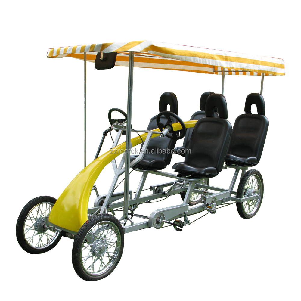 No Tariff City Sightseeing Factory Direct Adult Pedal Quadricycle Tandem 4 Person Bike