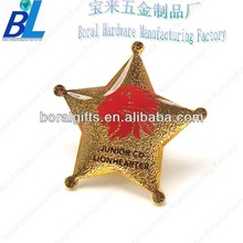 Silk printed lion head star shape lapel pin in Iron