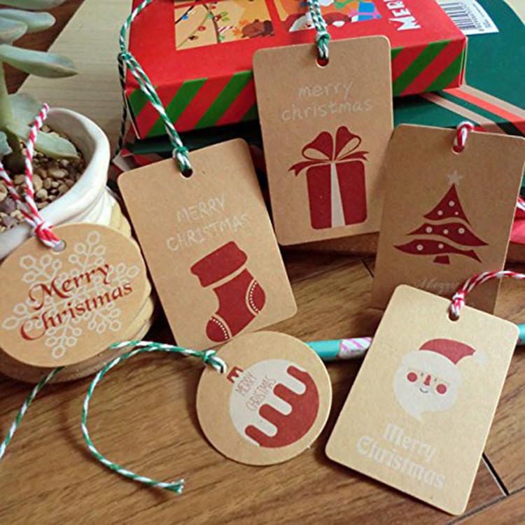 Feliz Navidad de papel Kraft personalizado etiqueta regalo con cuerda de yute