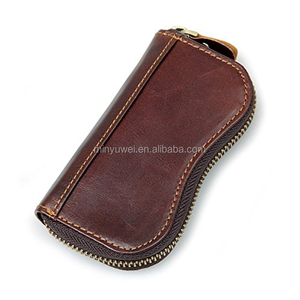 Genuine buffalo leather credit card key holder zip closure men's leather key wallet with coin pocket hot selling
