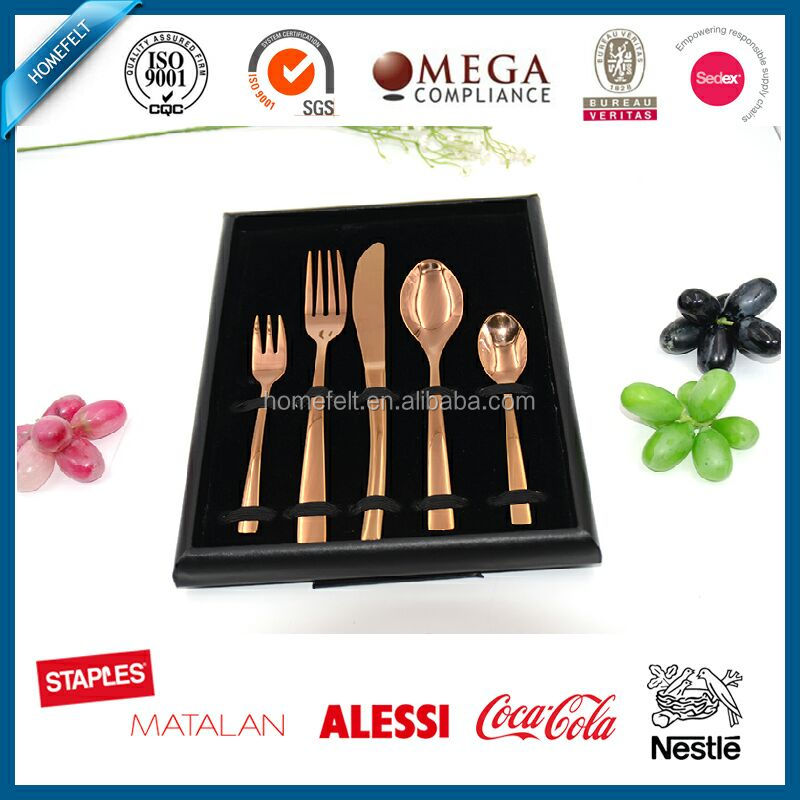 Rose gold Spoon knife and fork cutlery set