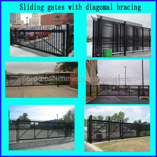 Powder coated electro wireless control metal manual slide gates
