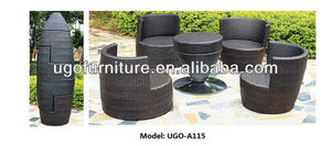 wicker stackable black rattan sofa UGO-A115 modern UGO garden furniture