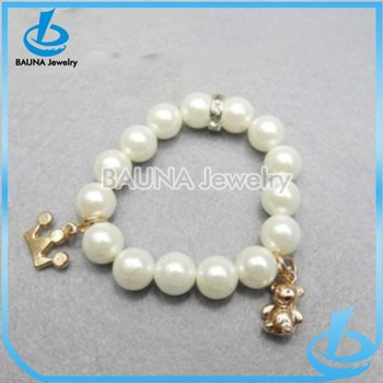 Handmade Baby Pearl Bead Gold Crown Panda Charm Bracelet