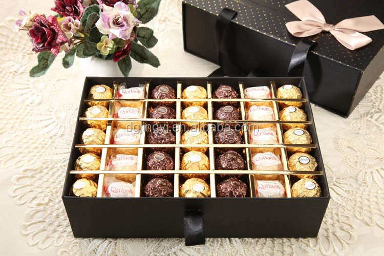 Hot sell black square chocolate packaging Drawer style paper gift box with gold hot stamping