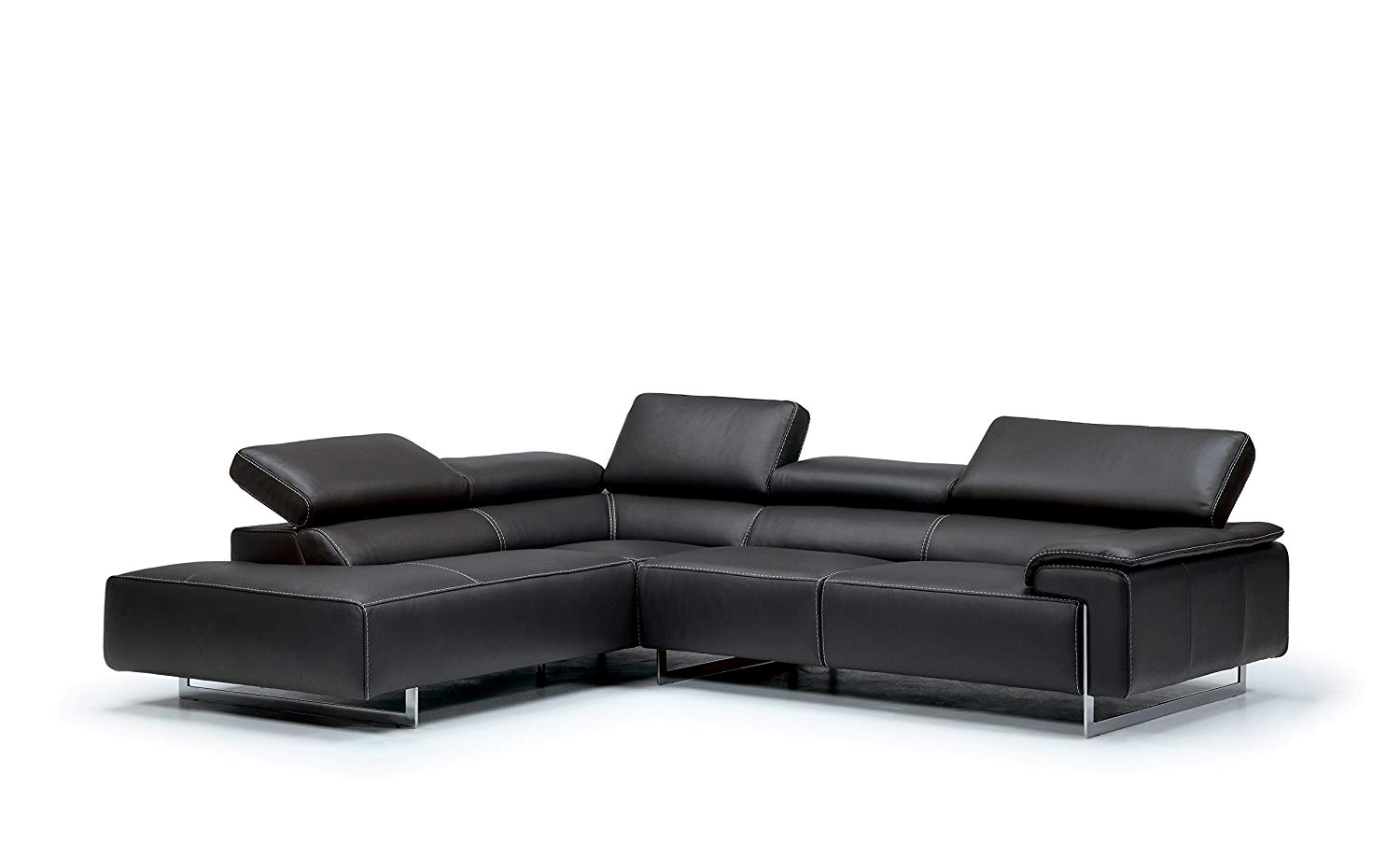 IDP Italia Ming Modern Italian Brown Leather Sectional Left Chaise