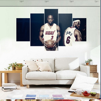 HD 5 Panel Sports Star /Basketball Star Wall Picture Painting Home Decor Canvas Prints For Gym Modern Printing