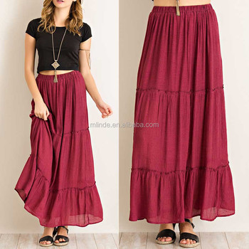 Long Skirt Models Elastic Waist Solid Crinkle Tiered Maxi ...