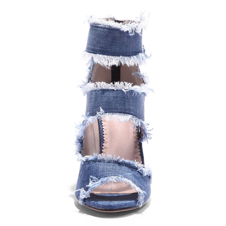 9914b07f2faaa الصيف 2019 الجملة الكاحل حزام الدنيم الصنادل السيدات كعب أحذية النساء أحذية  عالية الكعب