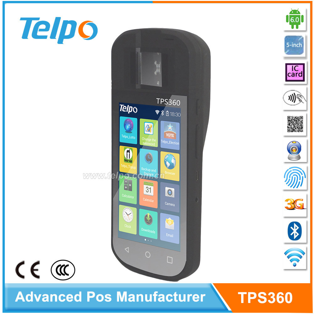 Telepower TPS360 Dual sim cards Handheld Nfc Payment Terminal Android with Finger scanner