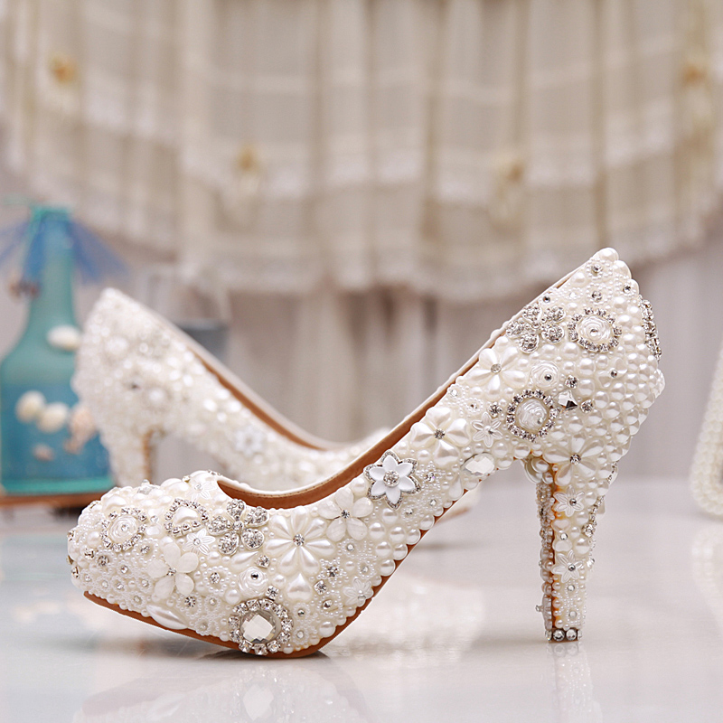 Luxurious Handmade Pearl Crystal Diamond Wedding Shoes White Bridal Dress Shoes Women Platform High <strong>heels</strong> 3 Inches Glitter Pumps